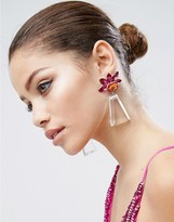 Asos Statement Flower Perspex Drop Earrings