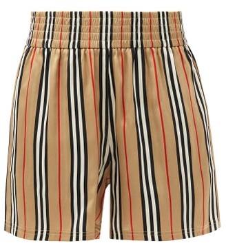 Burberry Marsett Icon-stripe Silk-satin Shorts - Beige Stripe