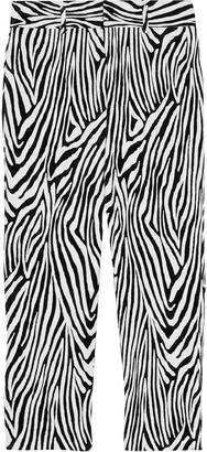 Frame Zebra Tux Cropped Printed Cotton-blend Velvet Slim-leg Pants
