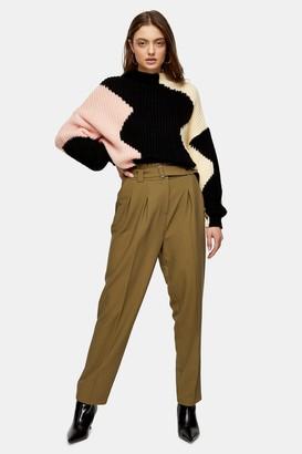 Topshop Womens Khaki Belted Peg Trousers - Khaki