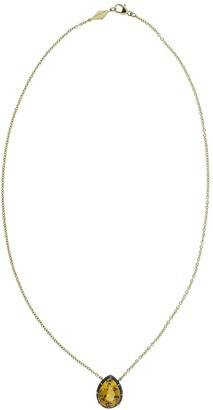 Fred Leighton 18kt Yellow Gold Pear Shaped Citrine Solitaire Pendant Necklace