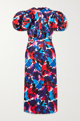 Rotate by Birger Christensen Dawn Open-back Printed Satin Midi Dress - Blue