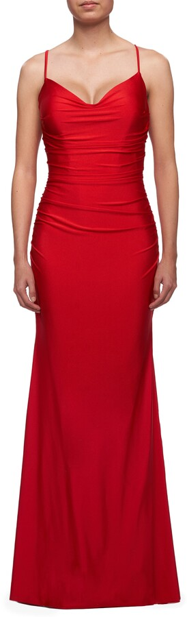 Thumbnail for your product : La Femme Tie Back Jersey Sheath Gown