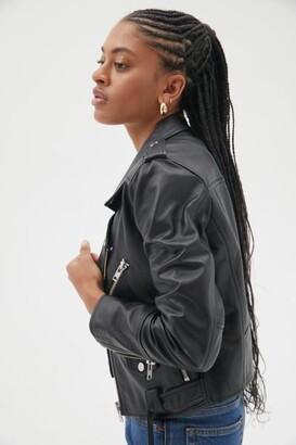 Deadwood Joan Leather Cropped Moto Jacket