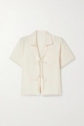 STILL HERE Havana Tie-detailed Cotton Shirt