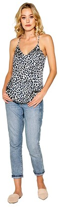 Lavender Brown Cheetah Printed Cami with Adjustable Strap (Ivory/Navy) Women's Clothing