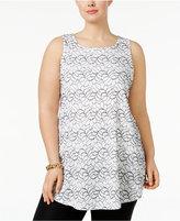 Alfani Plus Size Sleeveless Lace Tunic, Only at Macy's