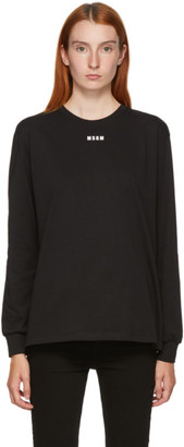 MSGM Black Small Logo Long Sleeve T-Shirt