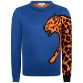 Boys Blue Leopard Sleeve Pier Jumper