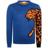 Paul Smith JuniorBoys Blue Leopard Sleeve Pier Jumper