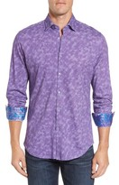 Stone Rose Men's Slim Fit Wavy Diamond Print Sport Shirt