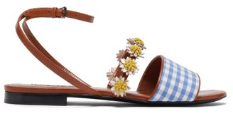Fabrizio Viti Bea Floral-applique Gingham And Leather Sandals - Tan Multi