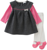 Absorba Black & Pink A-Line Dress & Tights - Infant