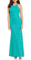 Jump Sequin Lace Strappy-Back High Neck Long Dress