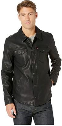 Levi's Faux Leather Shirt Jacket (Black) Men's Coat