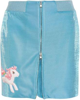 Moschino + My Little Pony Appliqued Lurex Mini Skirt