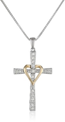 """Amazon Collection Sterling Silver and 14k Yellow Gold Diamond Cross and Heart Pendant Necklace 18"""""""