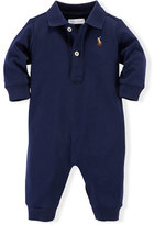 Ralph Lauren Long-Sleeve Pima Polo Coverall, French Navy, Size 3-12 Months