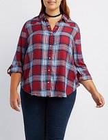 Charlotte Russe Plus Size Plaid Button-Up Shirt