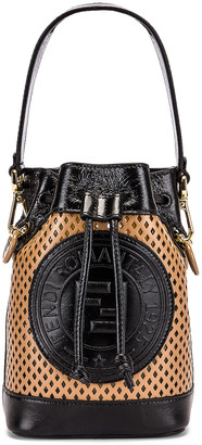 Fendi Mini Mon Tresor Bucket Bag in Sand & Black | FWRD