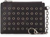 Neiman Marcus Grommet Faux-Leather Coin Pouch, Black