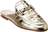 Tod's Double T Croc-Embossed Metallic Leather Mule