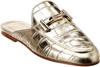 Tod's Double T Croc-Embossed Metallic Leather Mule