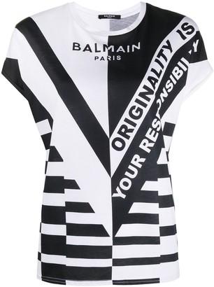 Balmain bold logo print T-shirt