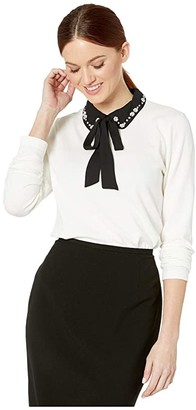 CeCe Long Sleeve Embellished Collar Sweater with Neck Tie