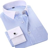 Dreamtao Men'S Solid Color Cuff Dress Shirts Long Sleeve Classic-Fit Square Collar Shirt