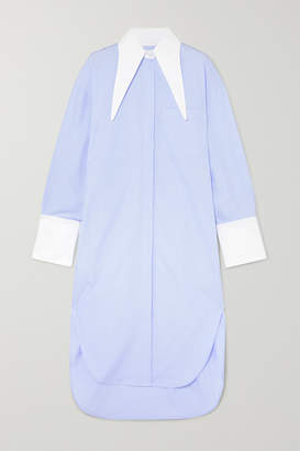 Deveaux - Oversized Pinstriped Twill Dress - Blue