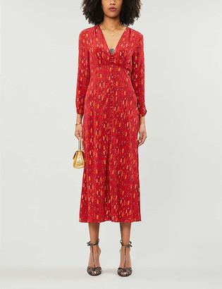 Rixo Katie printed woven midi dress