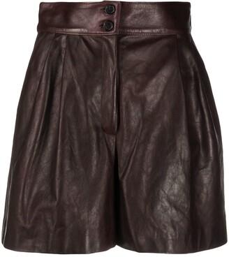 Dolce & Gabbana Pleated Leather Shorts