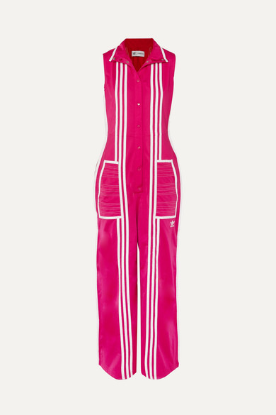 adidas + Ji Won Choi Striped Satin-jersey Jumpsuit - Pink