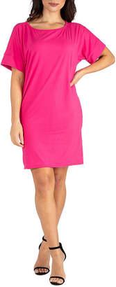 24/7 Comfort Apparel Short Sleeve Shift Dress