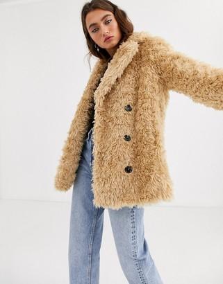 Topshop teddy faux fur coat in beige-Tan