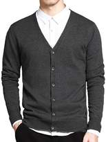 IVANNIE Men's Basic Long Sleeve Button Down V Neck Knitted Cardigan Tag 2XL - US L