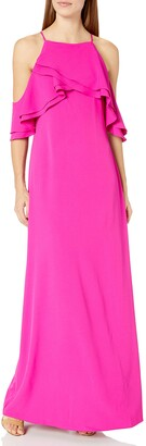 Marina Women's Cold Shoulder Ruffle Gown