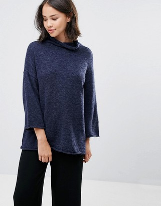 Soaked In Luxury High Neck Sweater With 3/4 Sleeves