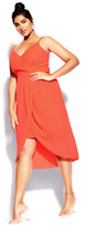 City Chic Sassy Affair Dress - neon coral