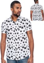 Enimay Men's Short Sleeve Button Down Dress Shirt American Colors 'Murica Stars