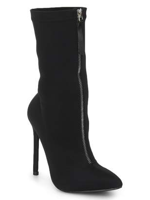 Linzi Truffle Collection Black Faux Suede Front Zip Heeled High Ankle Boots