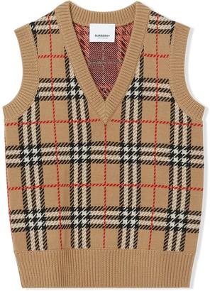BURBERRY KIDS Check Jacquard Vest