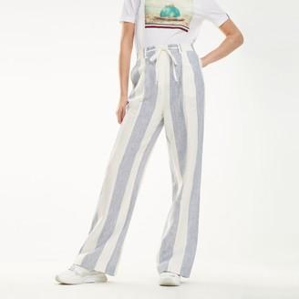 Tommy Hilfiger Linen Stripe Wide-Leg Trouser