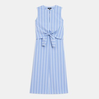 Theory Tie Front Dress in Striped Stretch Cotton