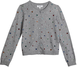 Milly Girl's Rainbow Stone Embellished Cardigan, Size 7-16