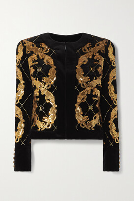Balmain - Sequined Embroidered Cotton-velvet Jacket - Black