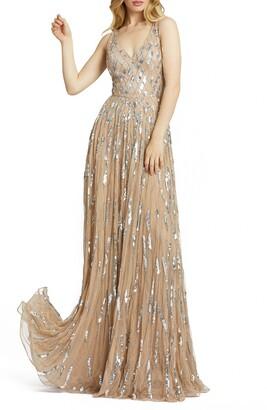 Mac Duggal Sequin Diamond Pattern Pleated Sleeveless Gown