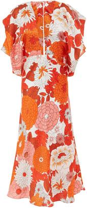 Dodo Bar Or Fluted Printed Silk-jacquard Midi Dress
