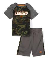 Rbx RBX Boys' Active Shorts GREEN - Green Camo 'Legend' Raglan Tee & Charcoal Active Shorts - Boys